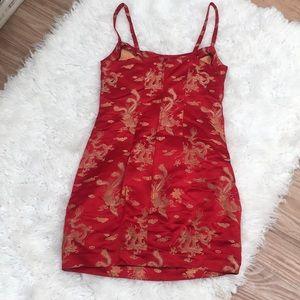 Dresses - Red Kimono silk dress